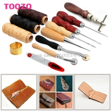 14Pcs Set Leather Craft Hand Stitching Sewing Tool Thread Awl Waxed Thimble Kit #G205M# Best Quality