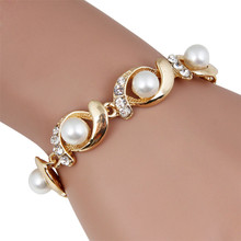 Fashion Elegant Women Lady Gold Silver Imitation Pearls Metal Rhinestone Bracelet Charm  Party Bracelets Jewelry Gift