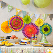 6pcs/Set Colorful Paper Fans Round Wheel Disc Birthday Kids Party Decoration Event Kindergarten Celebration Home Wall Decor