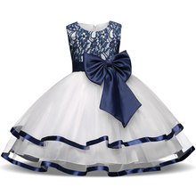 Formal Teenage Girls Party Dresses Blue Prom Dress Baby Girl Clothes Kids Girl Birthday Outfit Costume Children Graduation Gown(China)