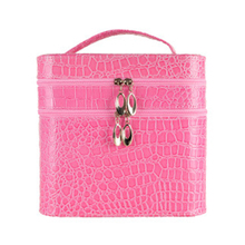 New Women Plaid PU Leather Cosmetic Bag Fashion Stereotypes Vanity capacity Cosmetic Case Female Travel Wash Makeup Storage Box(China)