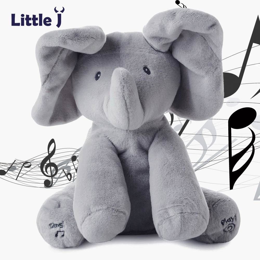 Little J Peek A Boo Elephant Stuffed Animals Plush Toy Electronic Sing Song Play Hide And Seek Elephant Baby Kids Soft Doll(China)
