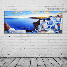 Hand Painted Knife Landscape Oil Painting Modern Aegean Sea View Picture Handmade Wall Art Calligraphy Blue House Canvas Picture(China)