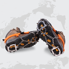 12 Teeth Claws Crampons Non-slip Shoes Cover Stainless Steel Chain Outdoor Ski Ice Snow Hiking Climbing Grippers With Sripe