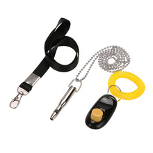 3Pcs/set Ultrasonic Bullet Shape Dog Training Copper Whistle + Pet Training Clicker + Lanyard Pet Training Supplies High Quality(China)