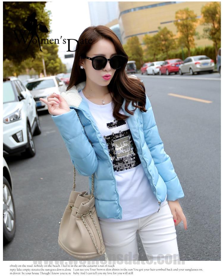 WomensDate 2017 New Women Winter Down Cotton Jackets Coats Girl High Quality Warm Thick Warm Parka Blue Zipper Hooded CoatsОдежда и ак�е��уары<br><br><br>Aliexpress