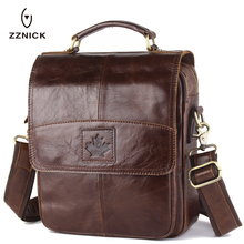 Genuine Cowhide Leather Crossbody Bags Fashion Men Messenger Men's Shoulder Bag Zipper Handbag Briefcase - ZZNICK YIPU Store store