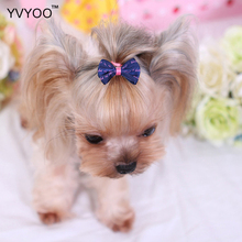 YVYOO Lovely Pet dog Hair Accessories Polyester Bow tie Colorful Hairpin hair dress up supplies A05
