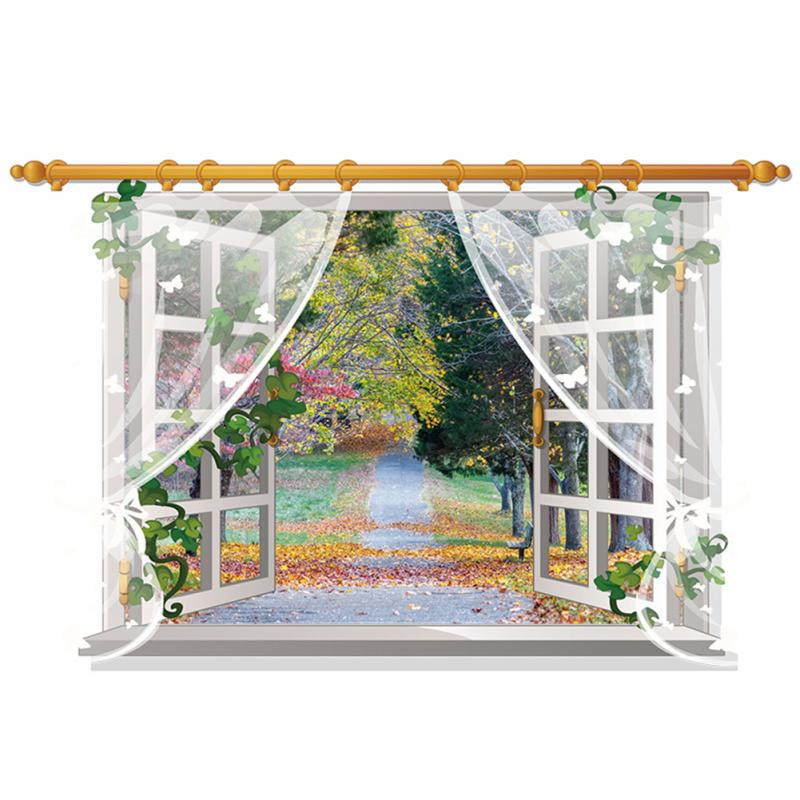 HTB1KYb8hCtYBeNjSspkxh6U8VXaQ - 3D Window View Nature Landscape Wall Sticker  For Living Room