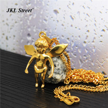 Men Stainless Steel Gold New Micro Baby Angel Wings Pendant Cuban/Box Chain Necklace Flying Angel Wing Jewelry Hip Hop JL2104