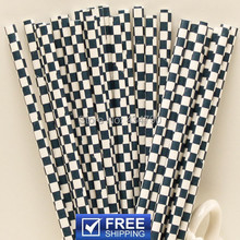 200pcs Navy Checkered Paper Straws,Cheap Birthday Cake Pop Sticks,Checker Eco Friendly Party Supplies Decorations