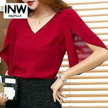 Womens Tops Summer 2017 Fashion Chiffon Blouses Mujer V-neck Solid Shirt Lady Eleangt Red Blouse Women Blusas Shirts