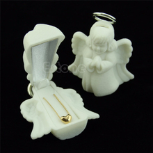 Flocking White Jewelry Box Luxury Angel Velvet Jewelry Rings Necklace Display Box Gift Container Case Jewelry Packaging