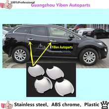 High Quality car styling body cover detector trims ABS chrome external door Bowl sticks lamp frame 4pcs for Mazda cx7 cx-7 4pcs(China)