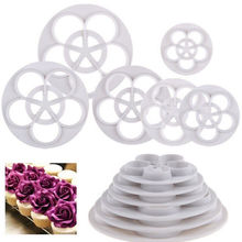 6Pcs Foody Mine Fondant Cake Sugarcraft Rose Flower Decorating DIY Cookie Mold Gum Paste Cutter Tool