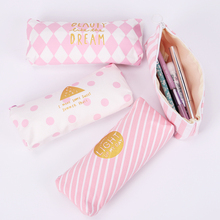 1PC School Pencil Bag Pencil Pouch Fresh Pink Stripe Series Pen Bags Office Stationery Canvas Pencil Case(China)