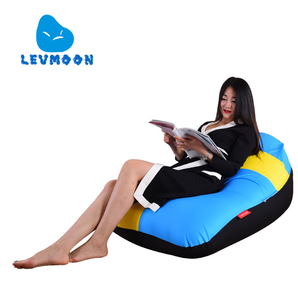 LEVMOON Beanbag Sofa Chair Sweden Flag Seat Zac Bean Bag Bed Cover Without Filling Indoor Beanbags<br>