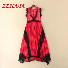 S-XL Deep V neck butterfly sleeveless ruffles lace patchwork designer slim long pleated Dress 2017 new nice women's dress 8535(China)