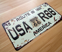 "RONE132 vintage  license Car plates  "" USA-R66 Route 66 America "" vintage metal tin signs garage painting plaque picture 15x30cm"