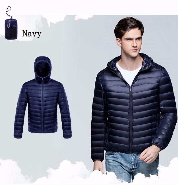2017 Autumn Winter Duck Down Jacket Hooded Men Ultra Light Thin Winter Down Coats Men Fashion Men's Winter Jacket AKITSUMA