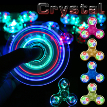 Hot Crystal LED Shine Flash Spinners Metal Fidget Spinner handspinner Light Toys for Children Kids Anti Stress Figet Spiner Gift(China)