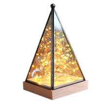 Glass Display Cloche Domes LED Night Lamp Table Light for Christmas Wedding Decoration USB Gift LED Fairy String Lights