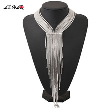 LZHLQ 2017 Maxi Multilayer Long Tassel Necklaces For Women Metal Plated Rhinestone Necklace Fashion Brand Jewelry Accessories