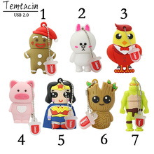 Animal Pig Tortoise Superman Bird Rabbit 4G 8G 16G 32G 64G USB Thumb Memory Stick Pen Drive Cartoon USB Flash Drive USB Drive(China)