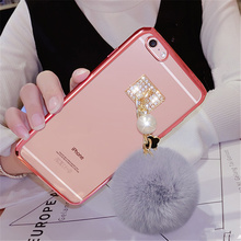 For iPhone 5 5S 6 6S 7 7 Plus Girls fashion Luxury Cute Pom Transparent plating Phone case Plush Pearl Fur Ball Soft Back Cover