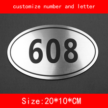 size 20*10cm House Number sliver brushed not fade Customized number letter Door Plate Apartment Hotel(China)