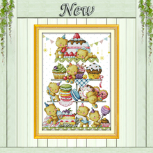 Sweet little bear cake decor painting counted print on canvas DMC 11CT 14CT Chinese Cross Stitch kits embroidery needlework Sets