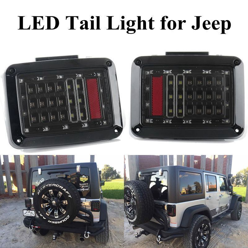 Car Styling For 07-16 Jeep Wrangler JK US version LED Tail Lights Brake Turn Signal Reverse Lamp Rear Lights automobiles Light<br>