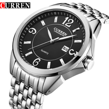 CURREN 2016 Stylish Wrist Watch White Dial Silver Steel 3 ATM Water Proof Men's Quartz Watch Men Business Relojes Hombre Relogio