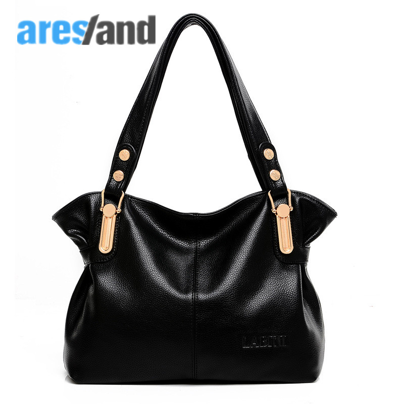 Aresland 2017 new European and American  fashion leather women shoulder totes bag messenger bag with zipper black<br>