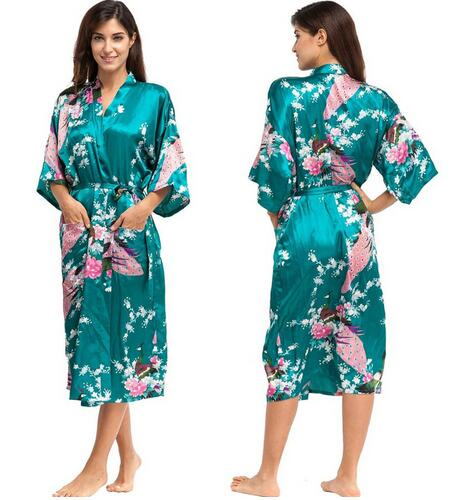 Silk Kimono Robe Bathrobe Women Satin Robe Silk Robes Night Sexy Robes Night Grow For Bridesmaid Summer Plus SizeS-XXXL 010412(China)