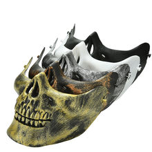 2016 New Popular Skull Skeleton Airsoft Game Hunting Biker Half Face Protect Gear Mask Guard Wholesale