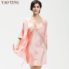 2017 New Women Sleep Shirt Set Causal Nightgown Night Gown Faux Silk Negligee Slip Kimonos Solid One Color for Spring Autumn(China)