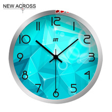 Gohide 1PCS 12-inch Circular Aluminum Wall Clocks Box Fashion Blue Clock Decorative Kitchen Wall Clocks Home Decoration