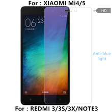 For REDMI 3 3S 3X NOTE3  Screen Protector Anti-blue Light Tempered Glass Film For XIAOMI MI4 MI5 Anti Finger HD Transparent