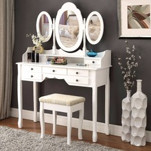 LANGRIA Makeup Dressing Table Vanity and Stool Set with 3 Adjustable Oval Mirrors 7 Drawers and Curved Solid Rubberwood Legs(China)