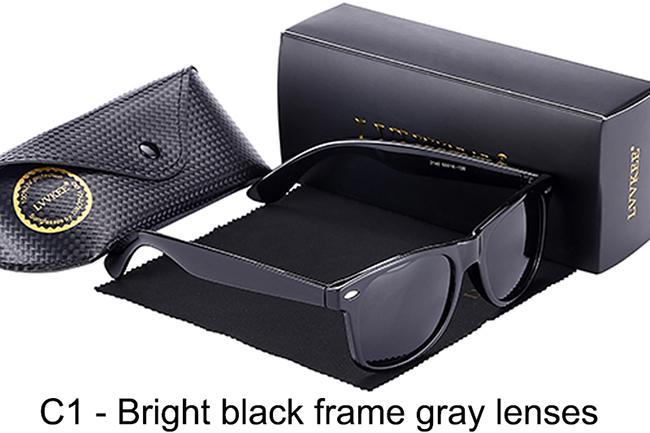 C1-Bright black frame gray lenses