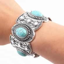 Find Me 2017 new fashion Vintage silver color Cuff Bracelet boho Carved rhinestone Mosaic big bracelets bangle for women Jewelry