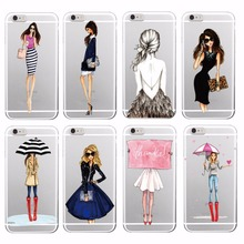 Classy Princess Long legs Shopping Cute Tall Girl  Umbrella Phone Case Cover For iPhone 4 5 6 7 S Plus SE 5C