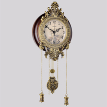 No.5369 Creative Retro Wall Clock Fashion Antique European Mute Hanging Watch Quartz Digital New Year Home Decoration Christmas(China)
