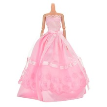 "1PCS Color Random Beautiful Handmade Party Clothes Fashion Dress For Barbie Sling Lace Party Dress for 11 "" Doll"