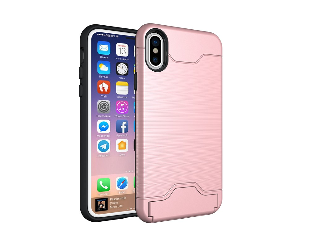 KEYSION Case For iphone X Shockproof cover for iPhone X Kickstand Armor Phone Bag Cases For iphone 10 Card Holder Coque 19