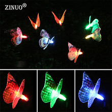 ZINUO 2pcs/Lot Solar Powered Butterfly Outdoor Garden Light Fiber Optic Fairy String Lawn Lamps For Landscape Yard Path Decorate(China)