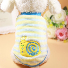 Yellow Stripe Snail Stitch pet cat dog Jacket Vest small Puppy kitty Clothes Coat doggy sweater Apparel costume drop ship(China)