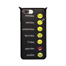 2017 Fashion cartoon classic hand made devil little demon monsters bull horn smile phiz imd black tpu cell phone case For Iphone(China)