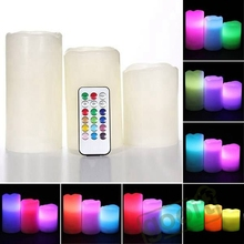 LED Candle Remote Control Flameless Candles lights Bulk 3 x Remote Control Color Change LED Vanilla Flameless Wax Candles(China)